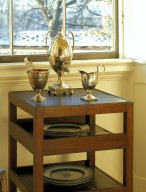 Monticello, dumbwaiter and silver urn in tea room