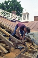 Monticello, roof restoration, Bob Self cleaning out mortise for joist