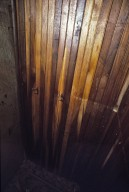 Monticello, Jefferson's Bedroom, closet wall with 2 wire hooks, restoration