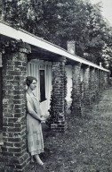 Monticello, South Dependencies, woman leaning on pillar