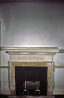 Monticello, restoration, Library, fireplace mantle before removal