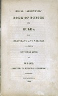 House carpenters' book of prices and rules, title page