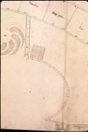 Monticello, Jefferson drawing of mountaintop and ferme orneé, detail