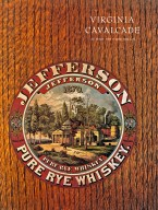 Jefferson County Rye Whiskey barrel label on the cover of Virginia Calvacade, Autumn 1979