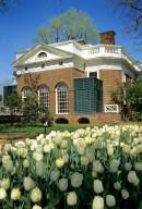 Monticello, Southeast Front with tulips
