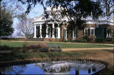west front of Monticello, view from fish pond