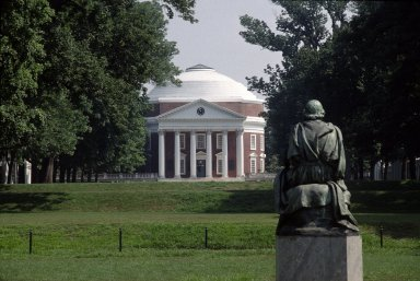 Homer statue by Moses Ezekiel, on South Lawn, with Rotunda in background