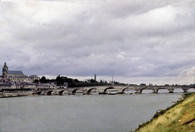 Blois, bridge and city from south bank of Loire
