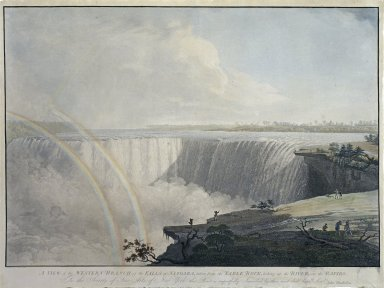 A View of the Western Branch of the Falls of Niagara, taken from the Table Rock, looking up the River, over the Rapids