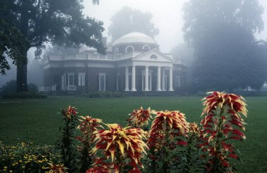 Monticello, west lawn, Joseph's coat and winding flower walk