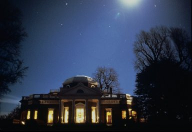 Monticello, West Front, at night