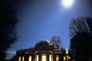 Monticello west front at night