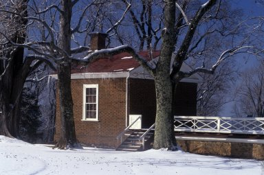Monticello North Pavilion, snow