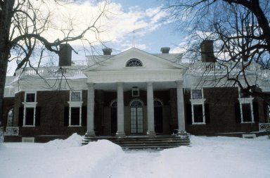 Monticello, west front in snow