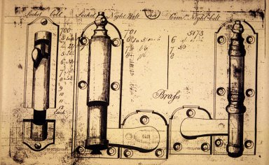 Birmingham Brass illustration, hardware, Jefferson's bedroom door