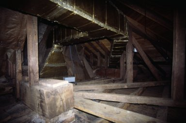 Monticello, attic framing, iron straps and hangers