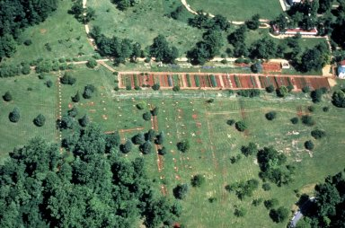 Monticello, vegetable garden, South Terrace, aerial