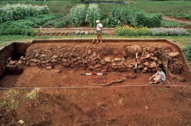 Monticello, restoration, Vegetable Garden, wall excavations