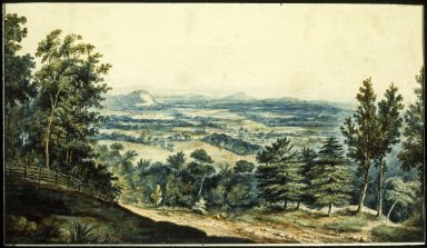 """Monticello, north slope and """"road descending"""" to Charlottesville"""