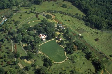 Monticello, West Front, Plantation, aerial