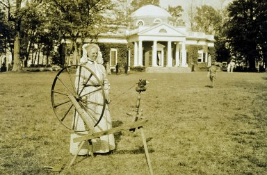Monticello, woman with spinning wheel, west lawn