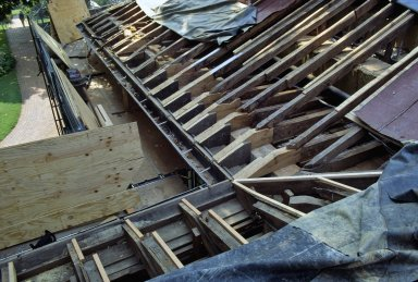 Monticello, roof restoration, completed rafter and joint repairs, east quadrant
