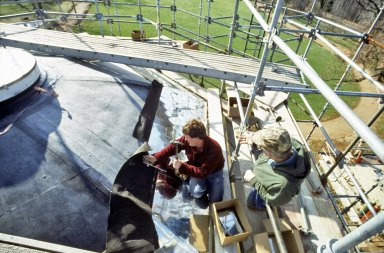 Monticello, roof restoration, Danny Joyce nailing shingles to Dome