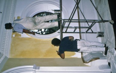 Monticello, Dome Room, Doug and Paul Stoneburner painting walls
