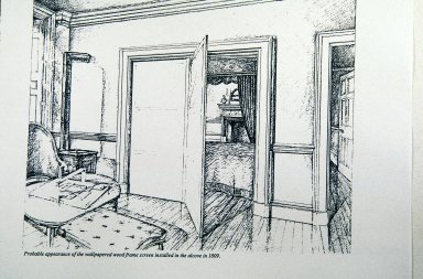 Monticello, conjectural view of Jefferson's Cabinet with bed screen and stove