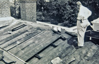 Monticello, restoration, Milton Grigg inspecting terrace roof sheath and structure