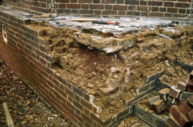 Monticello, restoration, South corner terrace, triangle, swath veneer and portion of cap removed