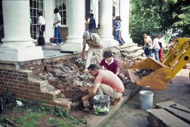 Monticello, restoration, East Portico, removal of steps