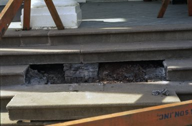 Monticello, restoration, East Portico, support for stone steps