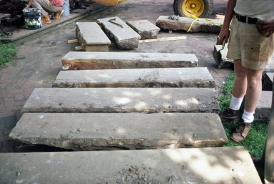 Monticello, restoration, East Portico, stone steps laid out