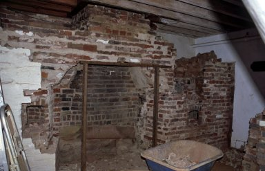 Monticello, restoration, dependencies, Kitchen, fireplace wall with removal almost completed