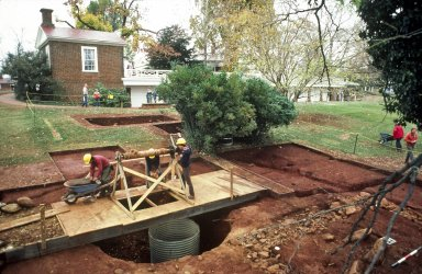 Monticello, archaeology, dry well excavation