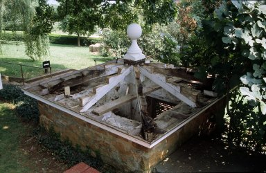 Monticello, restoration, South Privy Roof, exposed, showing rot