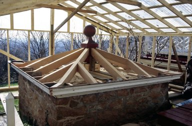 Monticello, restoration, South Privy, new rafters and finial