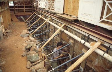 Monticello, restoration, North cellar passage, re-pointing of backside of west wall, half completed