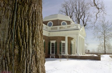 Monticello, West Front, from North, snow
