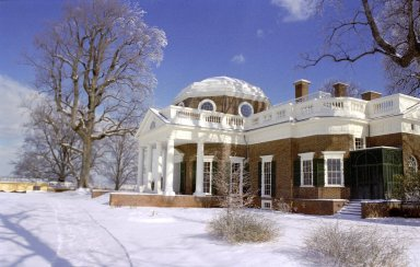 Monticello, West Front, from South, snow
