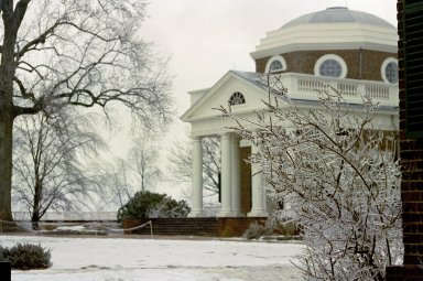 Monticello, West Front, from South Pavilion, snow
