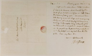 Th. Jefferson, Bowling Green, March 8, 1790, to Thos. Mann Randolph junr Esq at the Haymarket, Richmond, recto