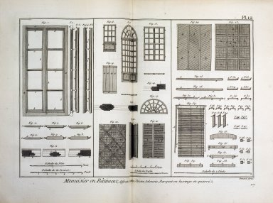 Menuisier en Batiment, differentes croisees, Cloison, Jalousie, Parquet en losange et quarre, Encyclopedie Methodique, Planches, Tom III