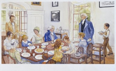 Monticello, Jefferson and family dining
