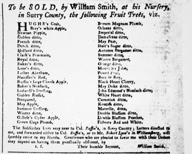 """""""To be sold by William Smith, at his nursery, in Surry County, the following fruit trees"""""""
