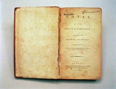 Notes on the State of Virginia, Jefferson owned, title page
