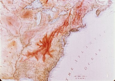 Map, Colonial America, Highlighting the Appalachians