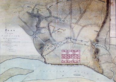 Map, War for Independence, British capture Savannah