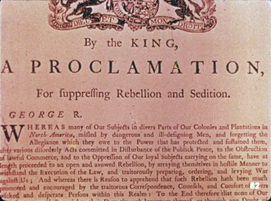 Royal Proclamation, Sedition and Rebellion